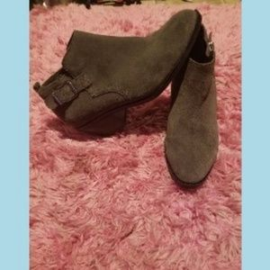 Shoes - Gray Suede Ankle Boots Sonoma Brand  side buckle
